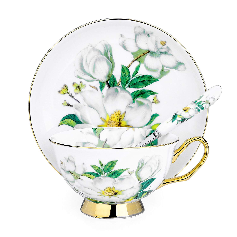 ARTVIGOR Camellia набор кофейных чашек с принтом, новая костяная китайская чайная чашка и блюдце, подарочные наборы с ложками для 4 человек