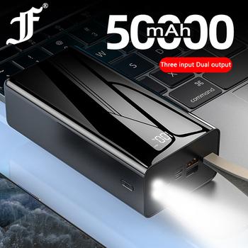 Power Bank 50000 mAh ekran lustrzany 50000 mAh Poverbank dla iPhone 11 pro Xiaomi Powerbank z podwójnym wyświetlaczem LED zasilania tanie i dobre opinie Dxpower 6 plus Bateria litowo-polimerowa Wsparcie szybkie ładowanie Z latarką Rok wybudowania kable Cyfrowy wyświetlacz