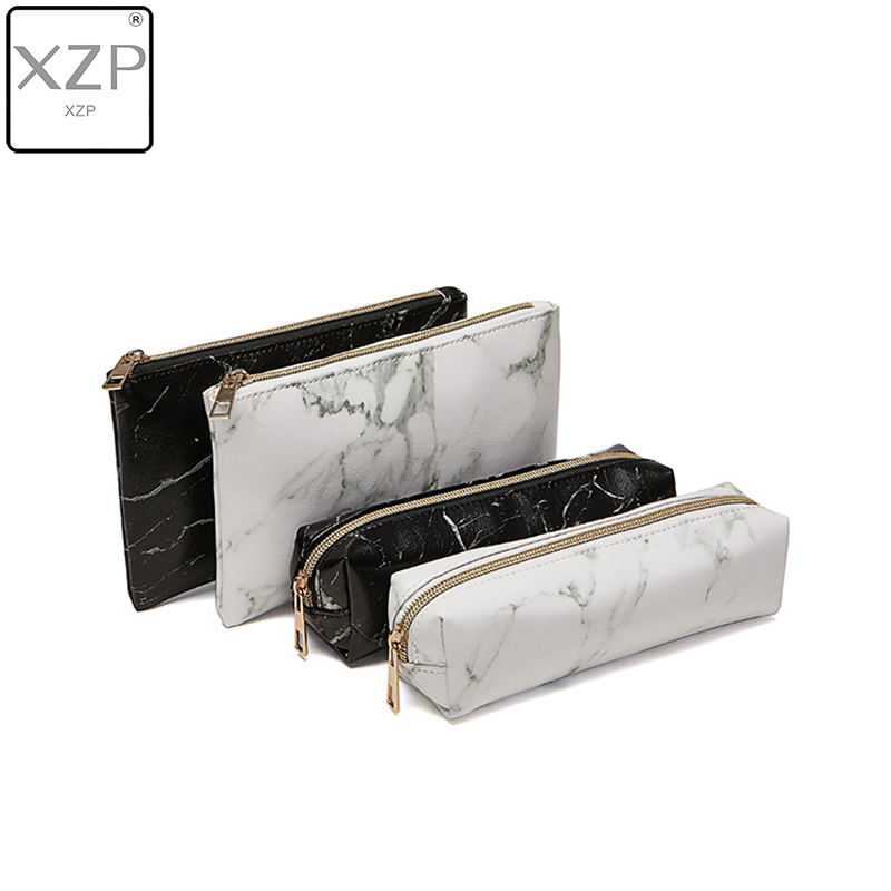 XZP PU Cosmetic Bag Make Up Marble Portable Ladies Travel Case Makeup Brushes Organizer Storage Pouch Toiletry Wash Kit Bags