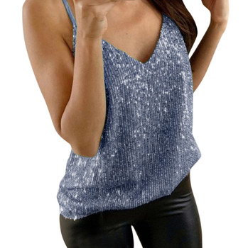 Womens Tank Top Sequin Strappy Tops Ladies Sexy Camis V-neck Sleeveless Vest Clubwear Party Clubwear Free shipping ##5
