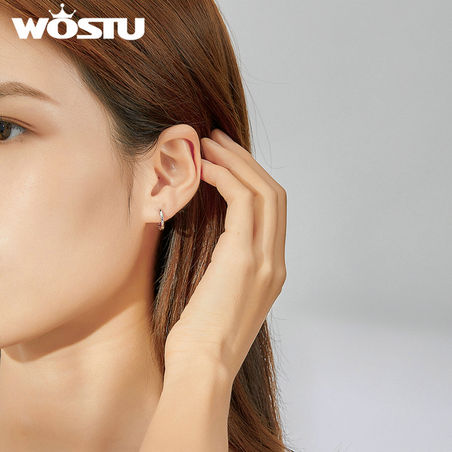WOSTU Hot Sale 925 Sterling Silver Simple Hoop Earrings For Women Small Earrings Wedding Engagement Jewelry Gift