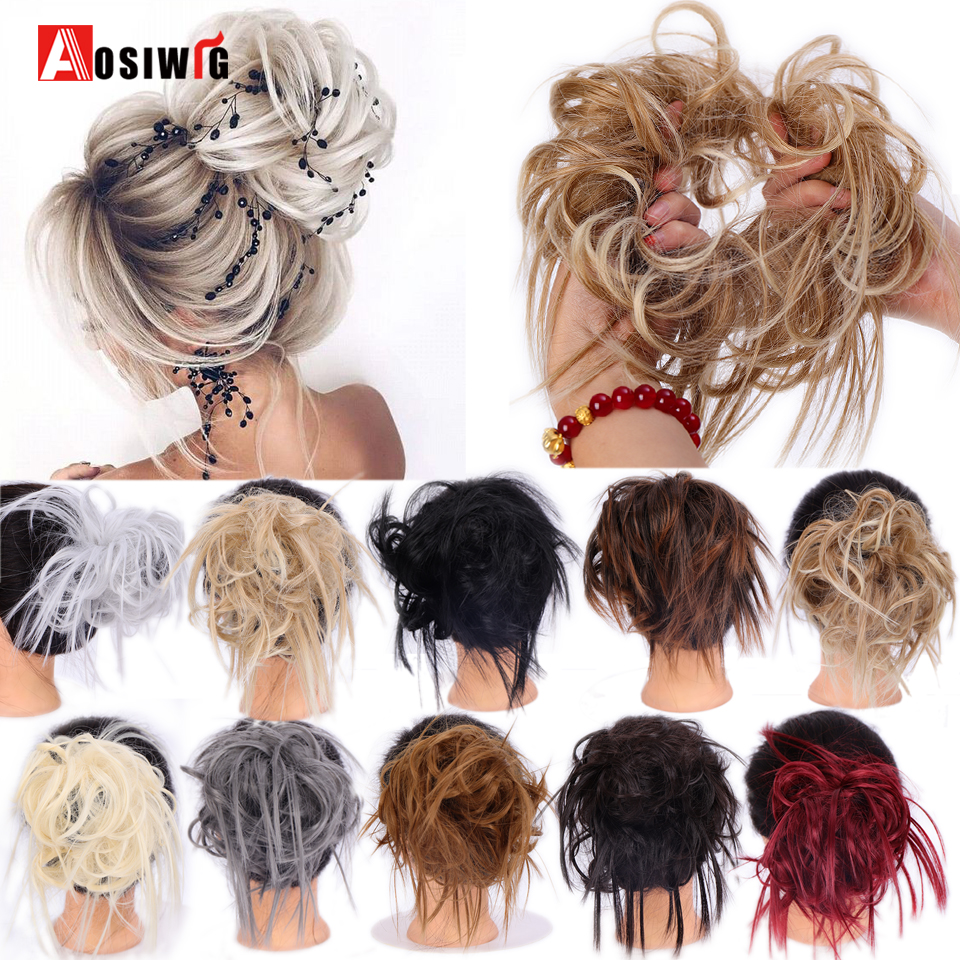 AOSIWIG Messy Hair Bun Tousled Updo Hair Piece Synthetic Hair Tail Extensions Rubber Band Elastic Scrunchies Donut Chignon