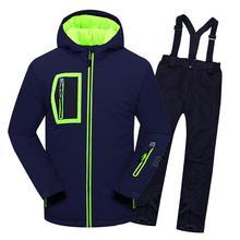 Детские лыжные комплекты теплое пальто лыжный костюм ветрозащитные куртки для мальчиков комбинезон комплекты одежды Детская верхняя одежда для От 3 до 14 лет