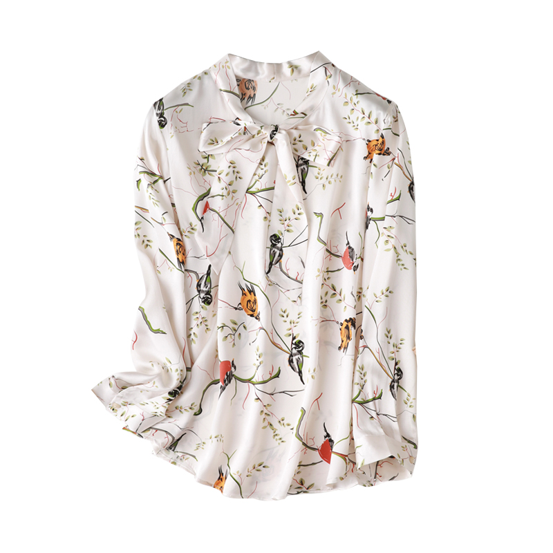 100% Natural Silk Blouses  Long Sleeve Real Silk Floral Bird Print Blouse Tops For Women Office Wear Shirts Work Blouses