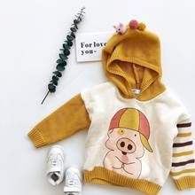 Tonytaobaby Winter New Style Baby Pig Plush and Thickened Hooded Cotton Knitting Sweater(China)
