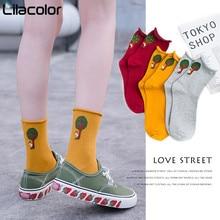 Cotton Print Women Socks Soft Breathable Girls Yellow Black White Autumn Winter Female Korean Style Sock