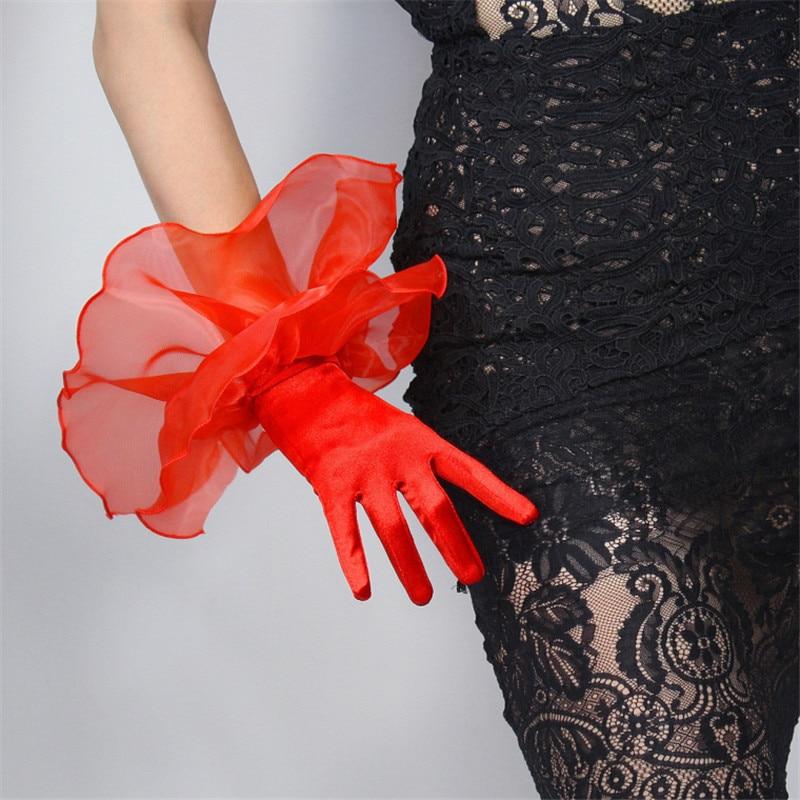 Silk Lace Gloves Elastic Mercerized Silk Satin Red Ultra Short Large Double-Layer Mesh Organza Ruffle Women Gloves WSG01