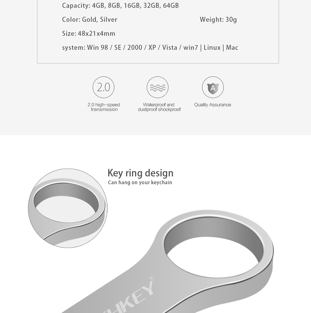 IsMyStore: usb flash drive 64GB 32GB TECHKEY pen drive 16GB pendrive флешка waterproof silver u disk memoria cel 8GB 4GB usb stick gift