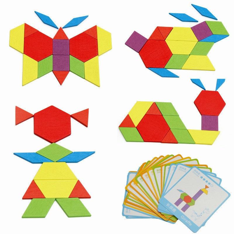 2018 New Baby Toy 130 Piece Puzzle Toy Montessori Children Creative Divergent Thinking Wooden Toys DIY Puzzle Puzzle