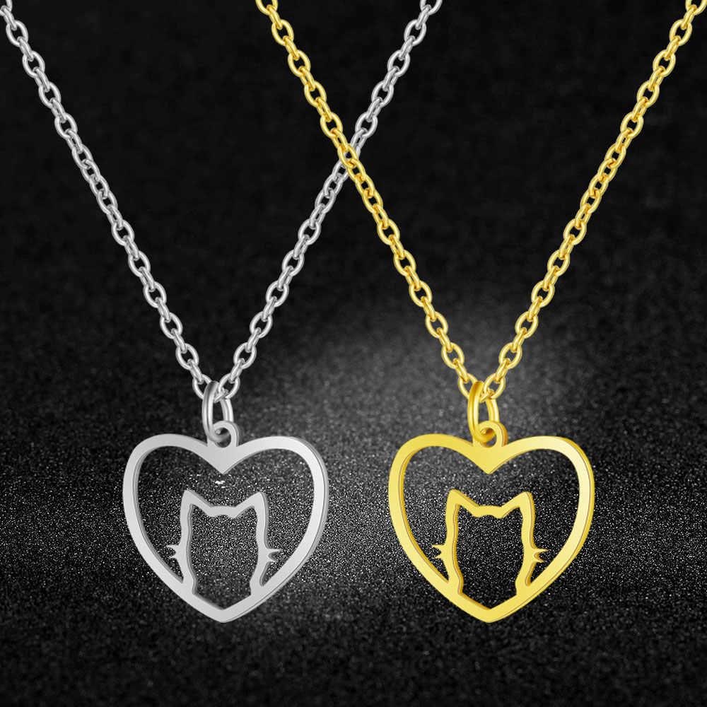AAAAA 品質 100% ステンレス鋼のハート猫チャームネックレス女性のためのファッションチャームジュエリーファッションチャームネックレス