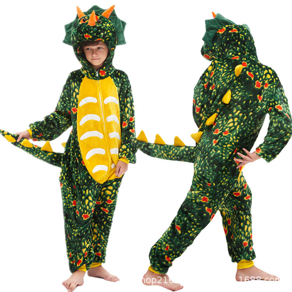 Kids Kigurumi Onesie Lion Pajamas For Children Animal Green Dinosaur Blanket Sleepers Baby Costume Winter Boy Girl Jumpsuit