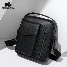 BISON DENIM Genuine Leather Men Shoulder Bag Double Zipper C