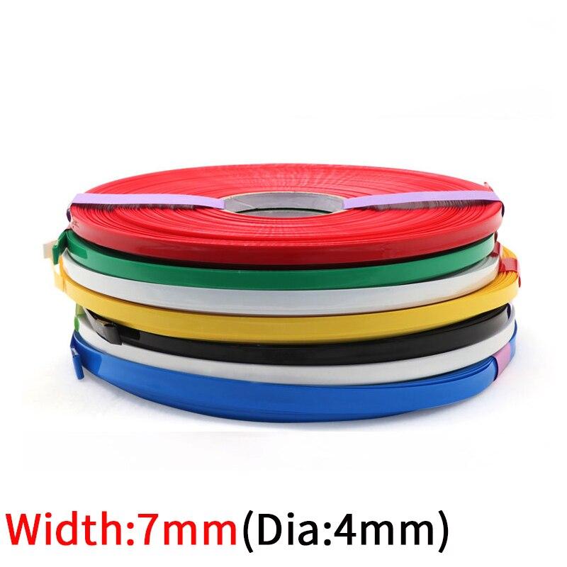 5M genişlik 7mm PVC ısı borusu Shrink Dia 4mm lityum pil yalıtımlı streç Film koruma çantası paketi tel kablo kılıfı renkli