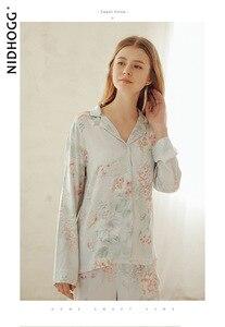 Image 2 - ฤดูร้อน Tribute ซาตินดอกไม้พิมพ์ชุดนอนหวานแขนยาวชุดนอน Loungewear ผู้หญิง Turn down Collar ชุดนอนเสื้อผ้า