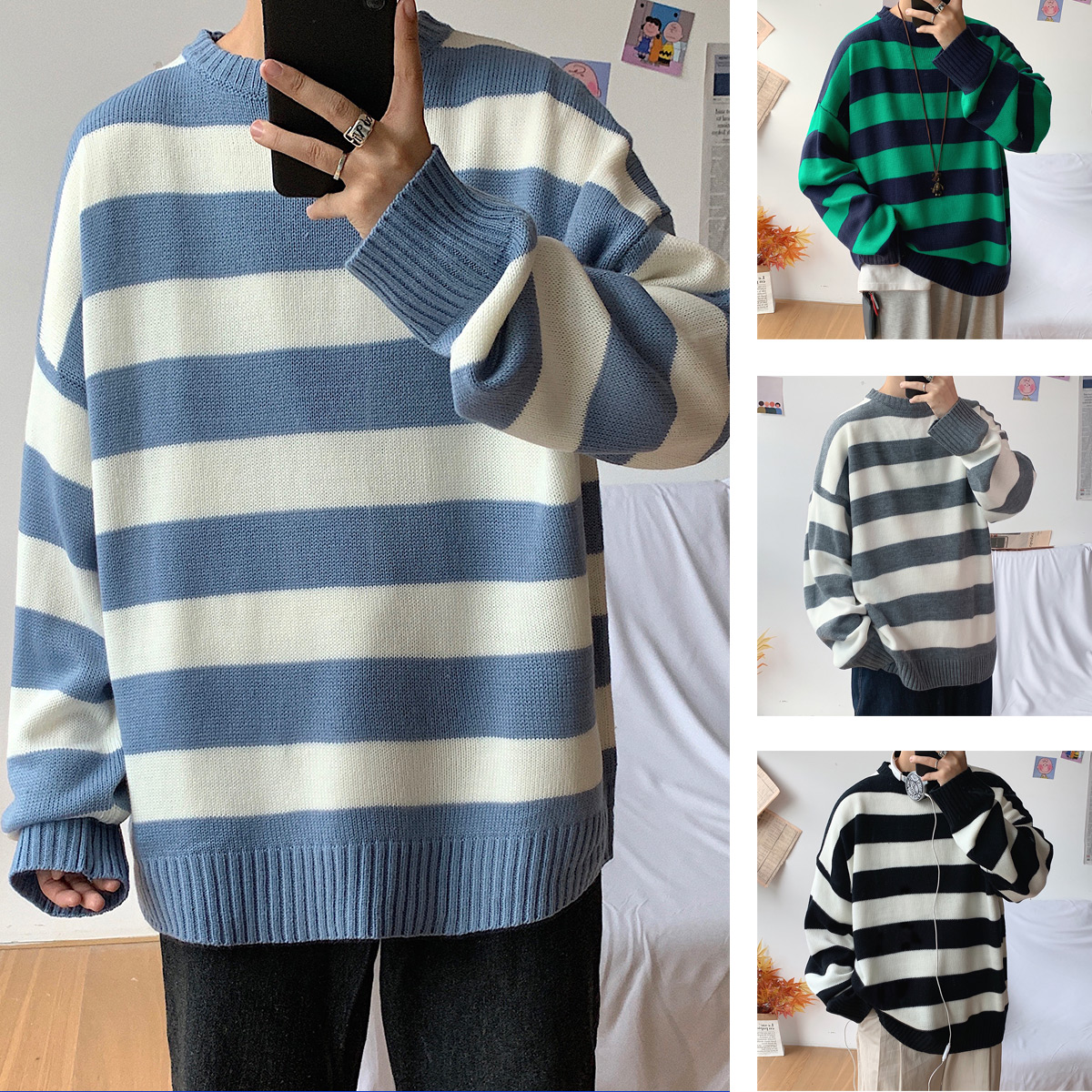 Privathinker Men Striped Fashion Casual Sweaters Mens Woman Autumn Winter Knitted Sweater 2019 Male Colorful O-Neck Pullovers