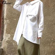 S-5XL Women Vintage Full Sleeve Pleated Blouse Celmia 2019 Autumn Casual Lapel Loose Buttons Tops Cotton Solid Shirt Long Blusas