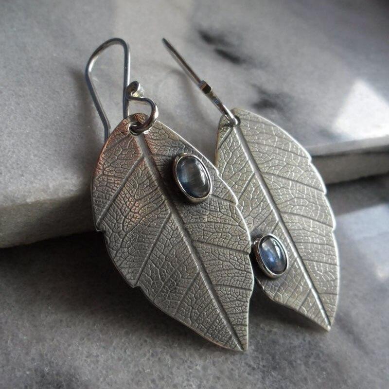 Винтажные висячие серьги с текстурированными листьями дерева, серьги в стиле бохо, этнические антикварные серебряные металлические серьги...