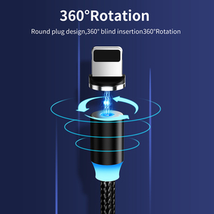 Image 2 - Cable de carga magnético LED para móvil, Cable Micro USB tipo C para iPhone XR, XS, MAX, X, 8, 7, 6, 6S Plus, 360