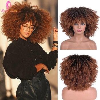 Pelucas Afro rizadas de pelo corto con flequillo para mujeres negras, cabello sintético africano sin pegamento, Cosplay, alta temperatura, Lizzy