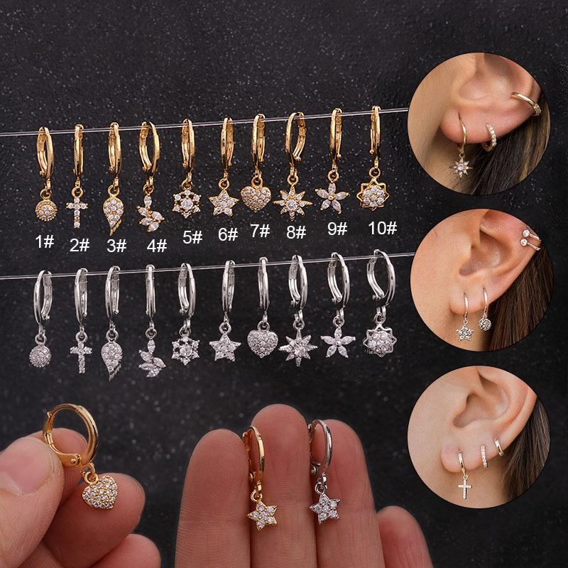1PC Ear Piercing Jewelry Cross Star Heart 20G Stainless Steel Hoop With Cz Pendant Cartilage Helix Rook Earring