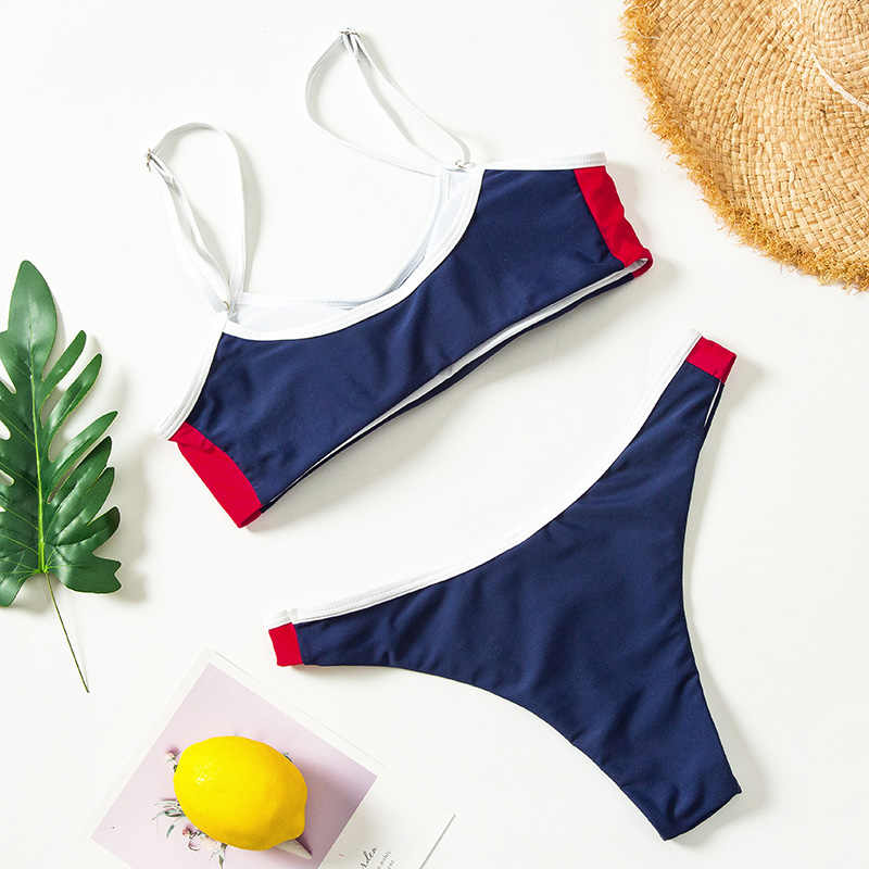 Sexy solide Bikini ensemble maillots de bain Mini Bikinis femmes Patchwork maillots de bain femmes baigneurs brésiliens maillots de bain femmes maillots de bain