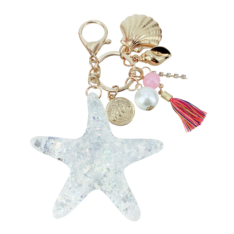 New creative acrylic tassel starfish key ring pendant ladies bag car children birthday gift