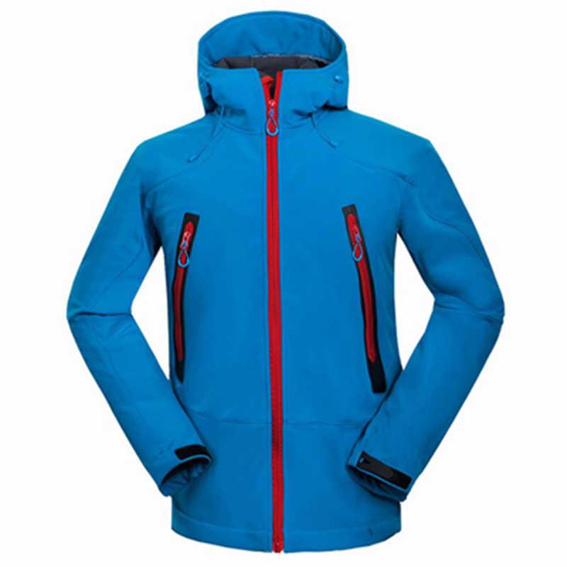 屋外ソフトシェルメンズハイキングジャケット防水防風熱ジャケットキャンプスキー厚く暖かいコート