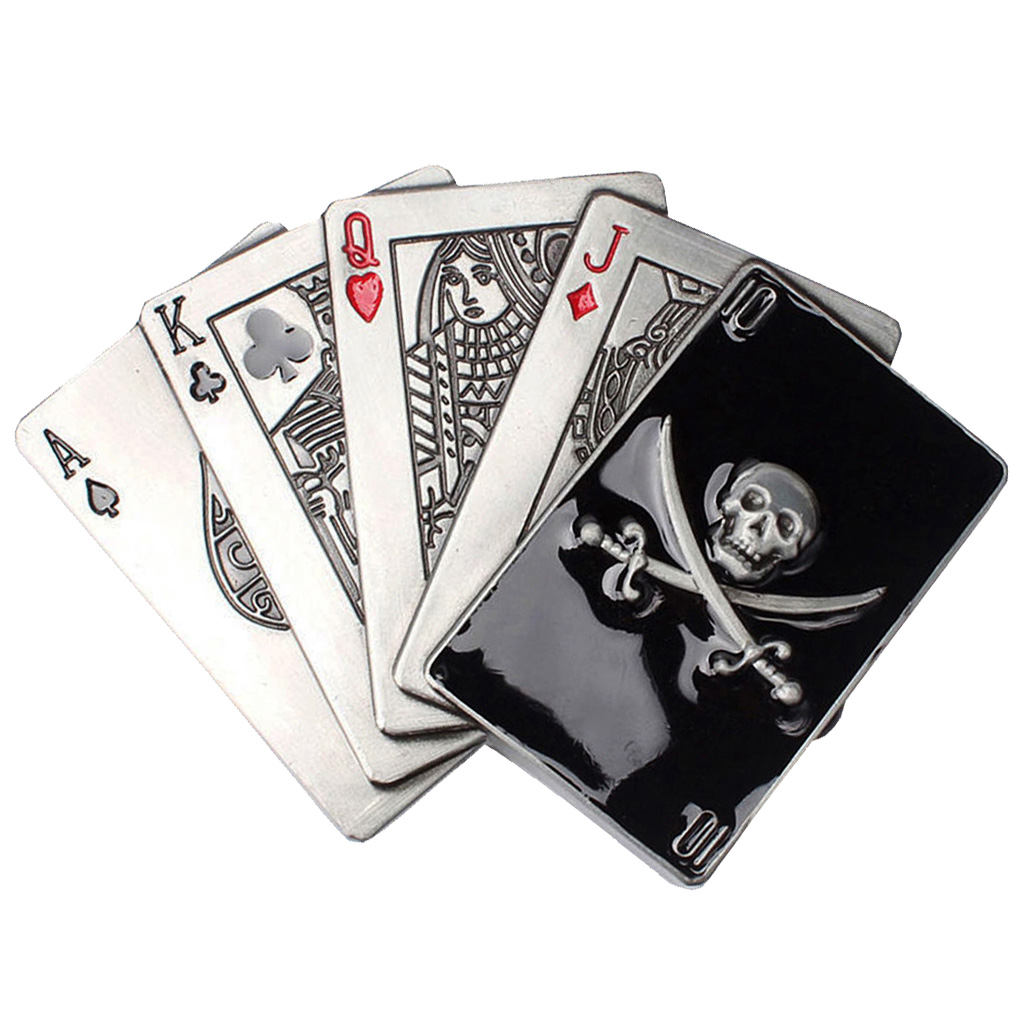 Carved Enamel Playing Card Alloy Pirate Skull Belt Buckle For Men Cowboy