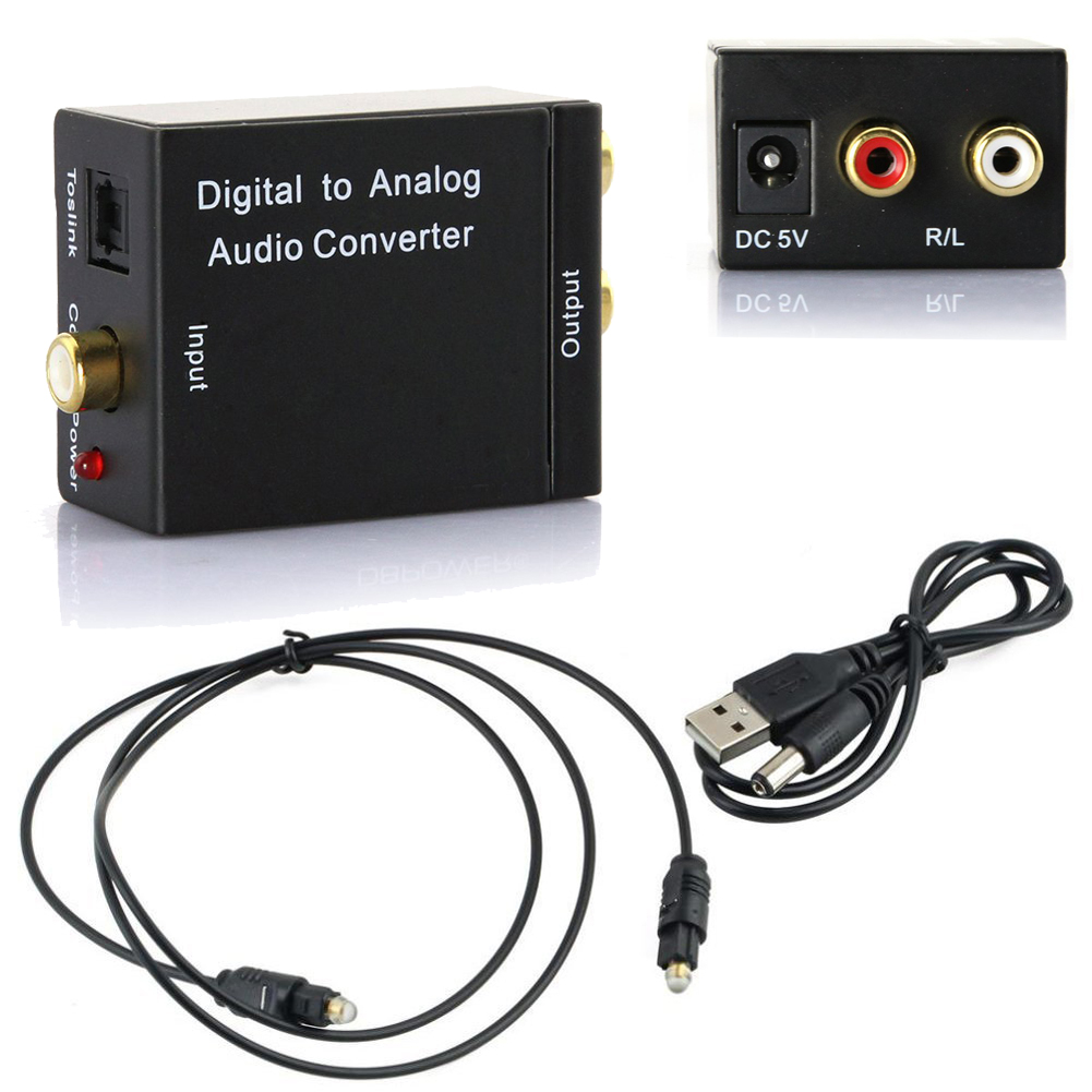 Цифро-аналоговый аудио преобразователь Цифровой оптический CoaxCoaxialToslink в аналоговый RCA L/R аудио преобразователь адаптер Усилитель