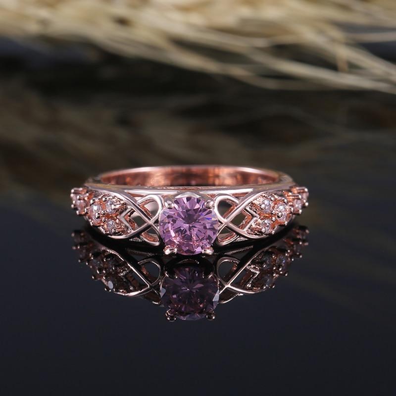 HT-18 romantique Rose pierre réglage anneaux de mariage avec torsion spéciale coeur conception bande de luxe or Rose couleur bague de fiançailles
