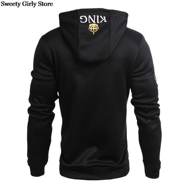 QUEEN KING Print Hooded Long Sleeve Couple Sweatshirt Casual Sexy Fashion Women Men Pullovers Hoodies Fashion Hoodie Streetwear 5