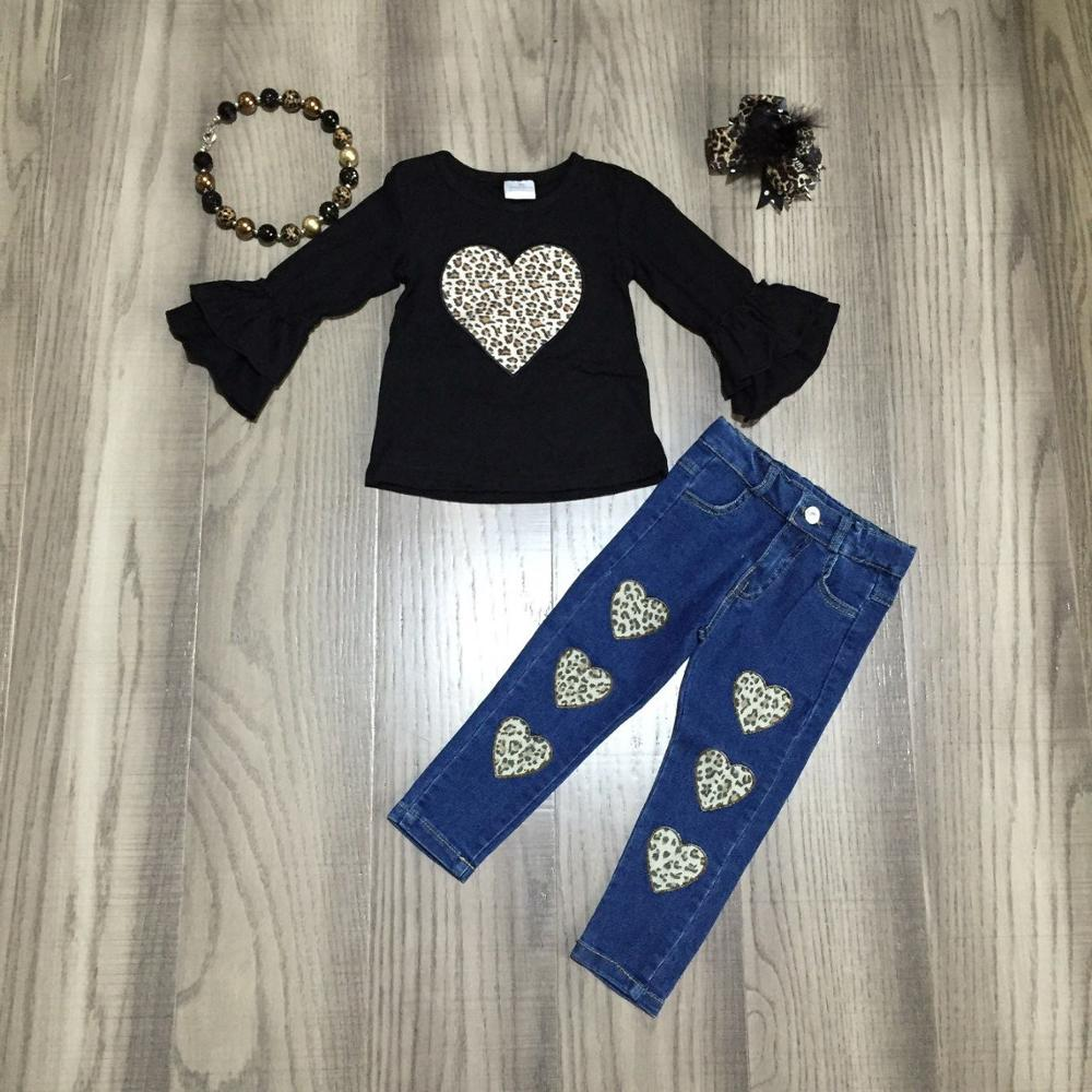 baby girls V-day clothes girls leopard jeans outfits heart shape shirt with jeans girls winte/spring outfit with accessories