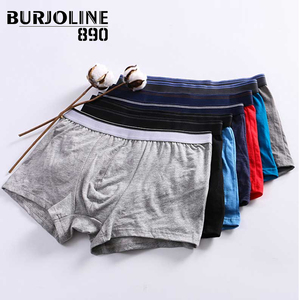 Image 1 - 890 7pcs/lot Mens Cotton Boxer Simple Sexy Youth Underwear Shorts Comfortable and Breathable Underpants 9N25