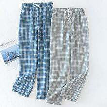 Męskie bawełniane spodnie gaza Plaid dzianiny spodnie do spania męskie piżamy spodnie dna piżamy piżamy krótkie dla mężczyzn Pijama Hombre tanie tanio COTTON AQ22111 pyjama trousers Grey pants blue pants Pants shorts M L XL Thin section Network Comfort Sleep Breath Home Leisure Cool