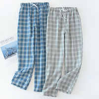 Pantalones de gasa de algodón para Hombre Pantalones de dormir de punto a cuadros pantalones de Pijama para Hombre