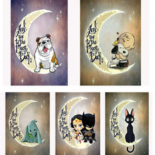 5D DIY diamond Painting love you back to the moon Full Square/Round Diamond embroidery Mosaic Cross Stitch Home decor Gift C1566(China)
