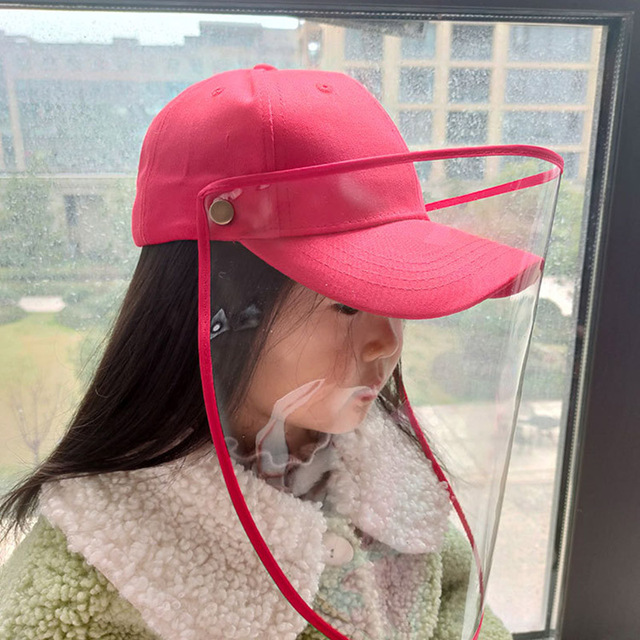 Kids Anti Saliva Baseball Hat with Removable Face Shield Mask Children Anti-Dust Outdoor Protective Mask Wind Sun Protection 3