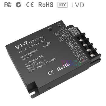 V1-T 3 in 1 Dimming led Controller 1CH*20A 12-24VDC CV 0/1-10V Push-Dim Auto-transmitting Synchronize RF 2.4GHz led strip dimmer new upa usb 2014 v1 3 0 14 with full adapters upa usb device programmer v1 3 auto ecu tool in stock