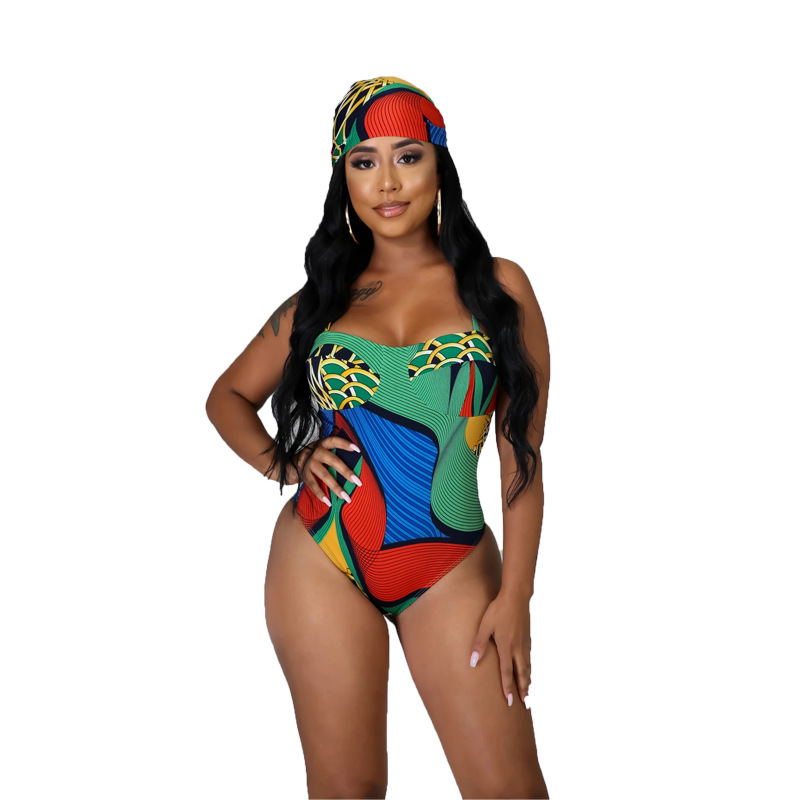 Beach Printed One-piece Strap Swimsuits Europe And America Hot Sale Wrap Skirt Two-piece Swimsuit