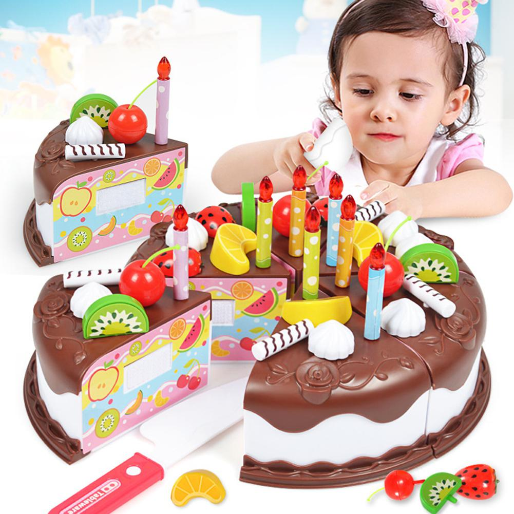 Kuulee 37pcs/Sets Funny Toys Birthday Cake DIY Model Children Kids Early Educational Pretend Play Kitchen Food Plastic Toys