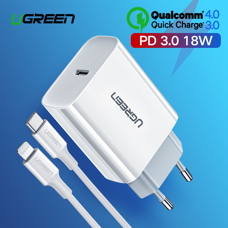 Ugreen Quick Charge 4,0 3,0 QC PD Ladegerät 18W QC4.0 QC3.0 USB Typ C Schnelle Ladegerät für iPhone 11 X Xs 8 Xiaomi Telefon PD Ladegerät