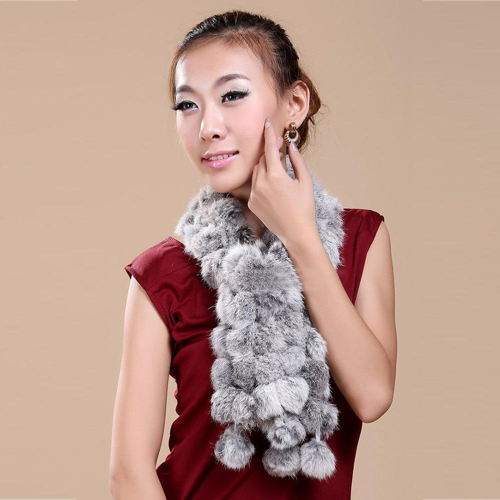 New Casusal Women Real Rabbit Fur Handmade Scarf Collar Shawl Long Scarves Wrap