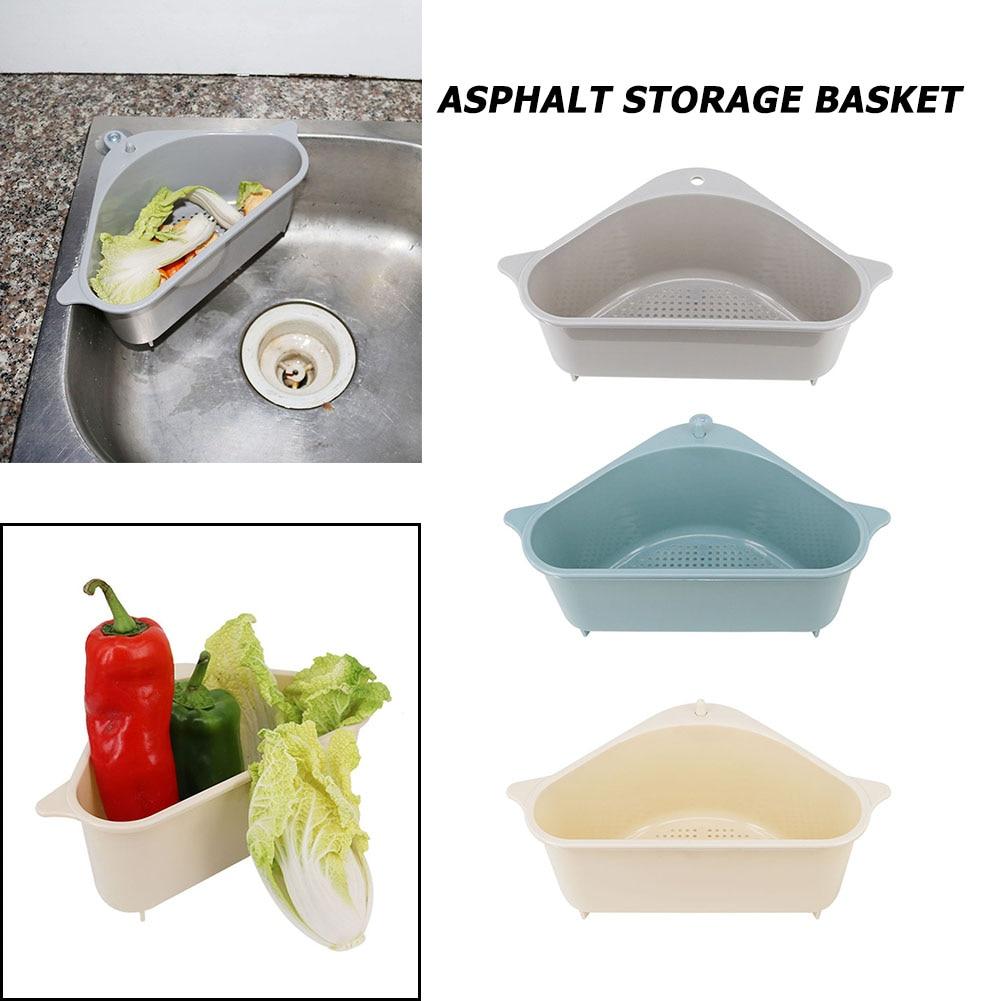 Kitchen Triangular Sink Strainer Drain Vegetable Fruit Drainer Basket Suction Cup Sponge Rack Storage ToolSink Filter Shelf