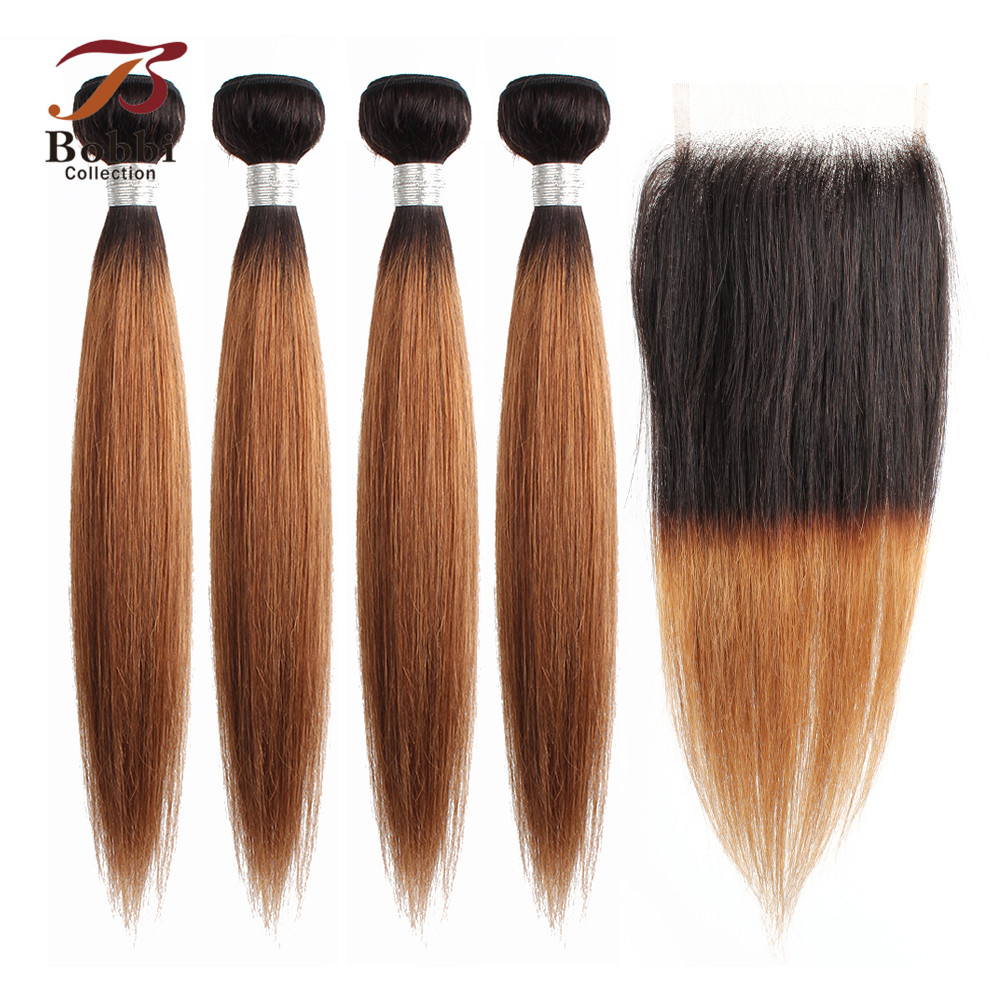 BOBBI COLLECTION 3/4 <font><b>Bundles</b></font> <font><b>With</b></font> <font><b>Closure</b></font> T <font><b>1B</b></font> <font><b>30</b></font> Ombre Brown Auburn Brazilian Straight Hair <font><b>Bundles</b></font> Non- Remy Human Hair Weave image