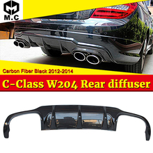 Fits For Benz W204 rear diffuser Carbon Fiber No hole Black bumper lip C-Class C180 C200 C250 12-14