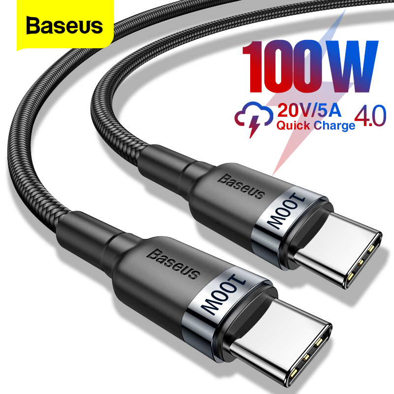 Baseus 100W USB C To USB Type C Cable USBC PD Fast Charger Cord USB-C 5A Type-c Cable For Xiaomi POCO X3 M3 Samsung Macbook iPad