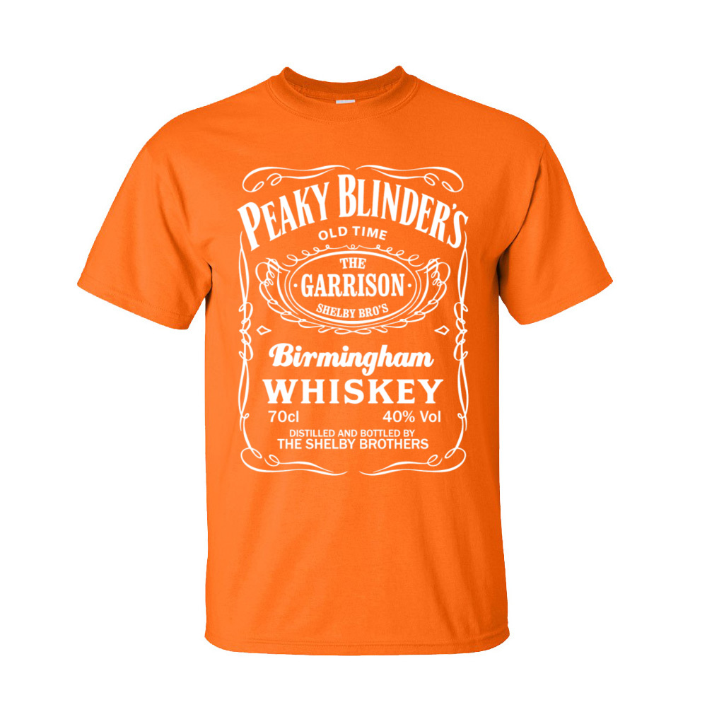 Plain Peaky Blinders Whiskey Printed On Short Sleeve Tshirts Father Day O-Neck Cotton Tops Shirts for Men T-Shirt Custom Peaky Blinders Whiskey-253 orange