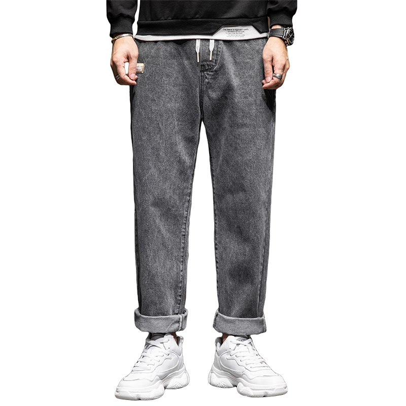 Baggy Jeans Men Pants Wide Leg Loose Fit Straight Cut Gray Daddy Pants Elastic Waist Drawstring Man Jeans 2021 New Male Trousers