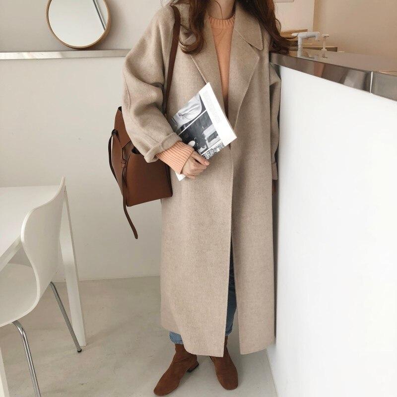 19 Winter Oversize Long Trench Coat Women Cashmere Coat Korean Lady Windbreaker Outwear Streetwear 84