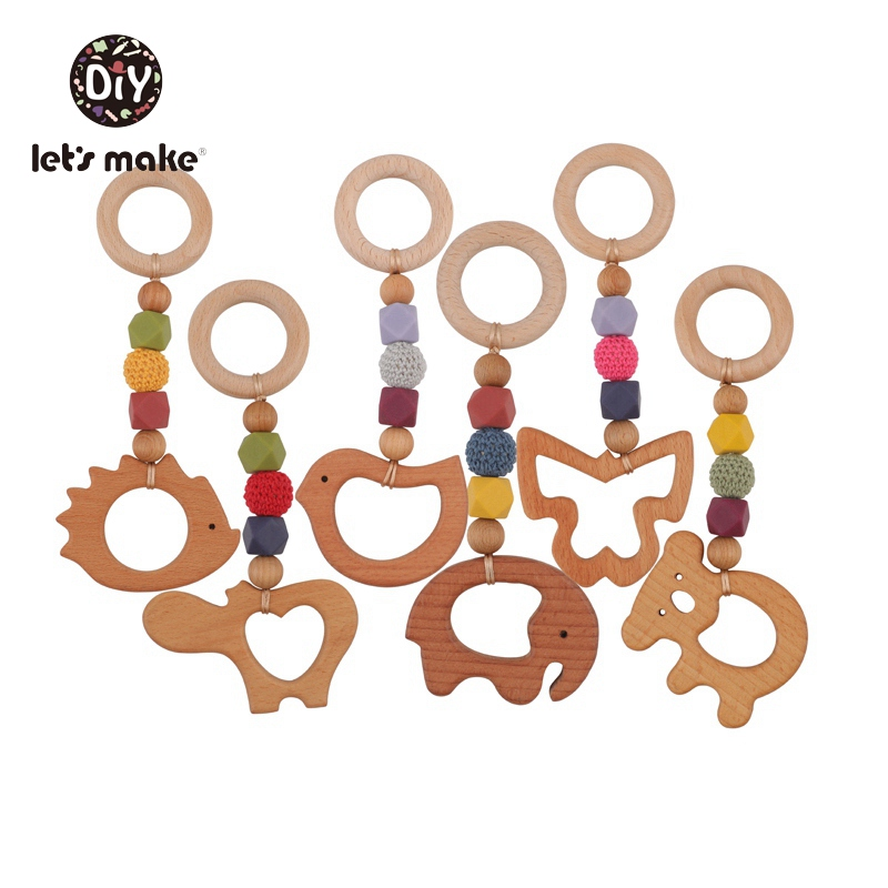Let's Make 1pc Baby Hanging Bed Bell BPA Free Olive Oil Beech Wood Rodent Animal Elephant Baby Rattles Stroller Wooden Pendant